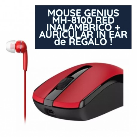 MOUSE GENIUS MH-8100 RED INALAMBRICO + AURICULAR IN EAR de REGALO